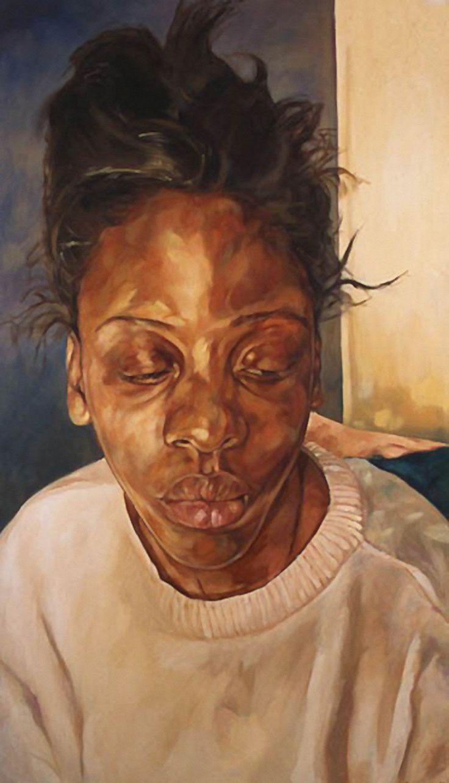 """Attitude"" - Barbara Walker, oil on canvas, 1998 {figurative impressionist art young female head african-american black woman face portrait painting #loveart} www.barbarawalker.co.uk"