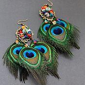 """Купить Серьги """"Black"""" - черный, золотой цвет, серьги с перьями, черные перья, длинные серьги"""