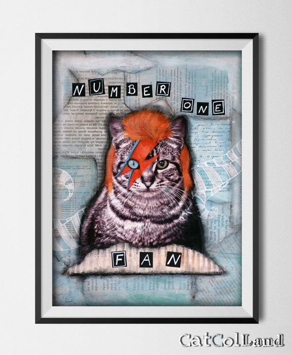 Bowie Cat Number One Fan/ Mixed Media Collage 12x16 by CatColLand
