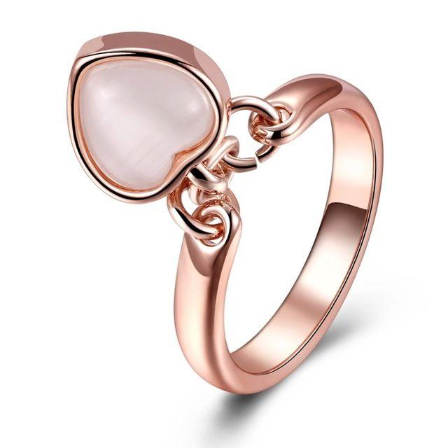 Новые женские кольца из розового золота цвета красивые элегантные в форме сердца полудрагоценный камень кольцо Женщины Свадебная вечеринка подарок женщины ювелирные изделия