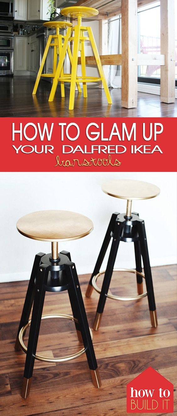 "How to ""Glam"" Up Your Dalfred IKEA Barstools - How To Build It"
