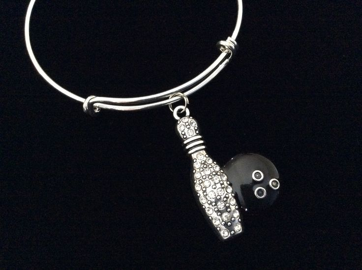 Crystal Bowling Ball with Bowling Pins Charm on a Silver Expandable Adjustable Bangle Bracelet Team Gift