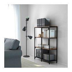 IKEA - FJÄLLBO, Regal, , Rustikales Regal mit Metallrahmen und Holzböden, die jedes Möbelstück einmalig machen.Man kann bei wenig Platz mit einem Element beginnen und es je nach Aufbewahrungsbedarf erweitern.Steht dank höhenverstellbarer Fußkappen auch auf unebenen Böden stabil.
