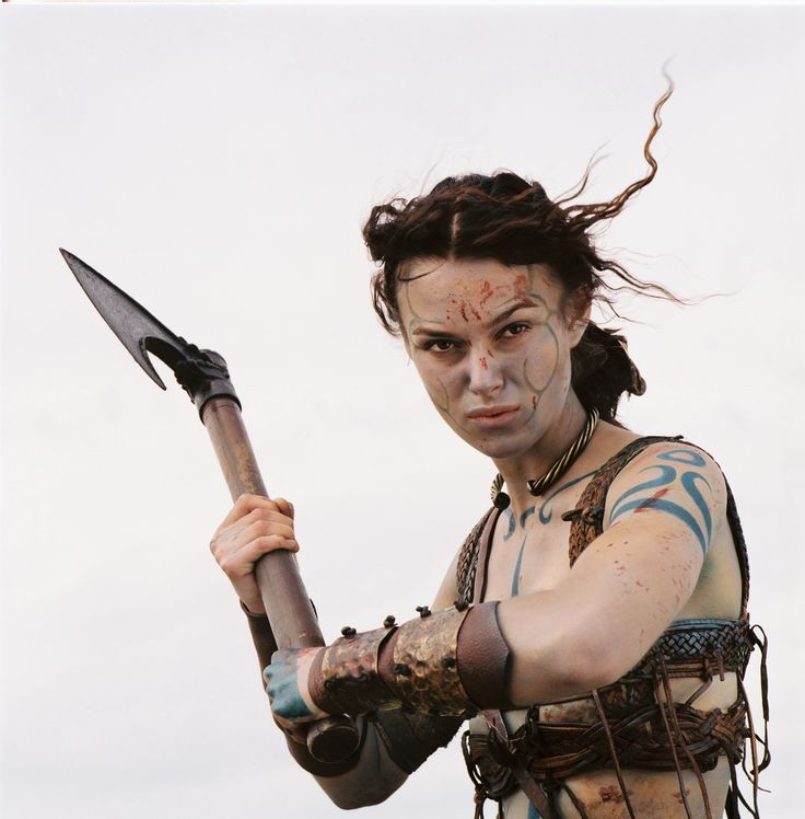 Keira Knightley as Guinevere in Antoine Fuqua's 2004 re-imagining of the Arthurian legend. In this film she is depicted (Picted?) as a 'woad warrior' skilled in the use of the hande-axe and the bow, two weapons said to be favored by the Amazons of antiquity.
