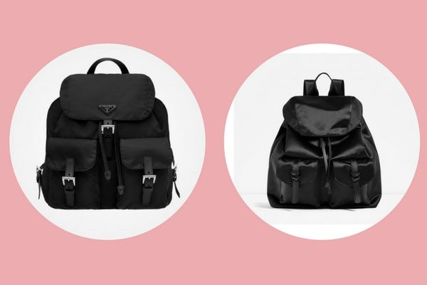 Fabric Prada backpack (€850) vs. satin Zara backpack (€45,95 )