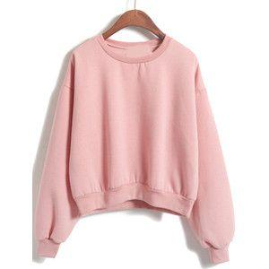 Round Neck Crop Loose Pink Sweatshirt