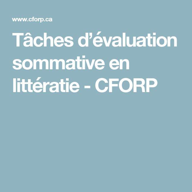 Tâches d'évaluation sommative en littératie - CFORP
