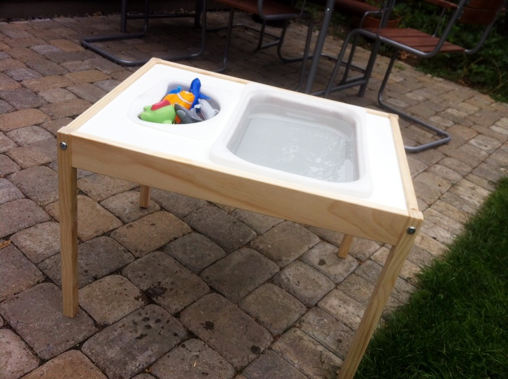 Diy water table using ikea l tt children 39 s table i had for Diy sand and water table pvc