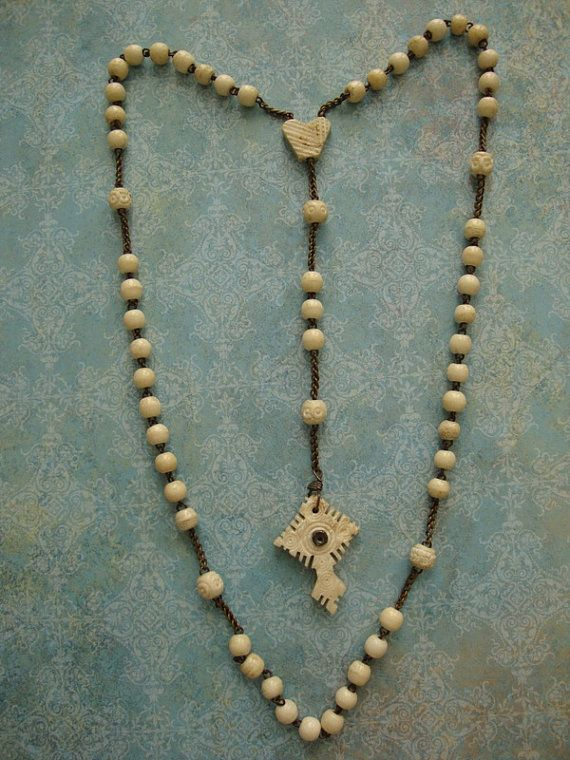 Antique Bone Stanhope Rosary with Eiffel Tower Arc de Triomphe Catholic Religious Church Pope Cross Crucifix Jesus Christ Beads
