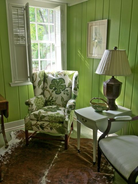 Schumacher's Hot House Flowers totally updates an old wing chair found in the basement.  ID by Catherine Cleare for The People's Project