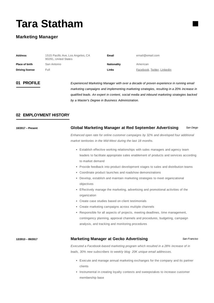 34+ Marketing manager resume sample workbloom ideas in 2021