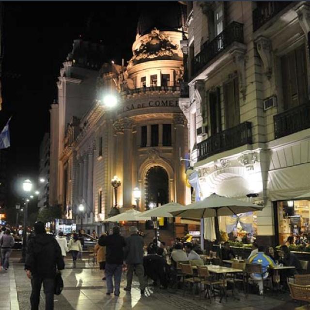 Cordoba street in Rosario, Argentina (Esquina de Códoba y Corrientes - Centro de Rosario)
