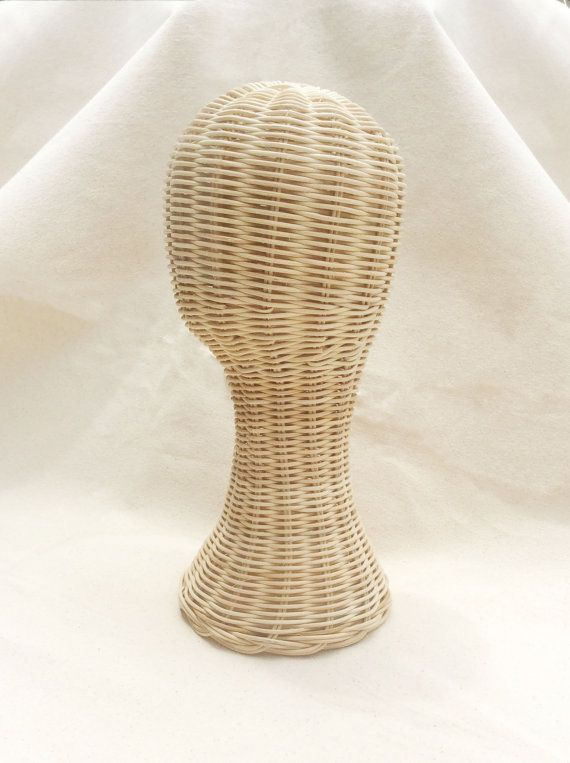 Hand made mannequin Head Rattan Wig Stand Hat by CircleFaceShop