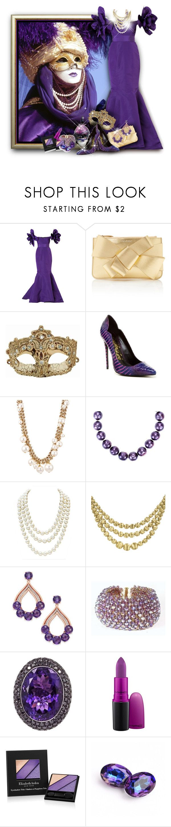 """""""Royal Purple Carnival Queen"""" by franceseattle ❤ liked on Polyvore featuring Bambah, Delpozo, Lust For Life, Lanvin, Chanel, Marco Bicego, Plukka, MAC Cosmetics and Elizabeth Arden"""