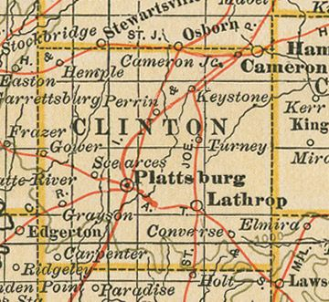Clinton County, Missouri History and Genealogy 780 pages of Clinton County, Missouri history and genealogy including 503 family biographies plus 9 different maps featuring 30 Clinton County, Missouri communities including Plattsburg, Cameron, Lathrop, Gower, Grayson, Hemple, Converse, MO