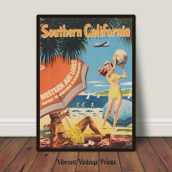 Southern California Beach Airline Retro Vintage Travel