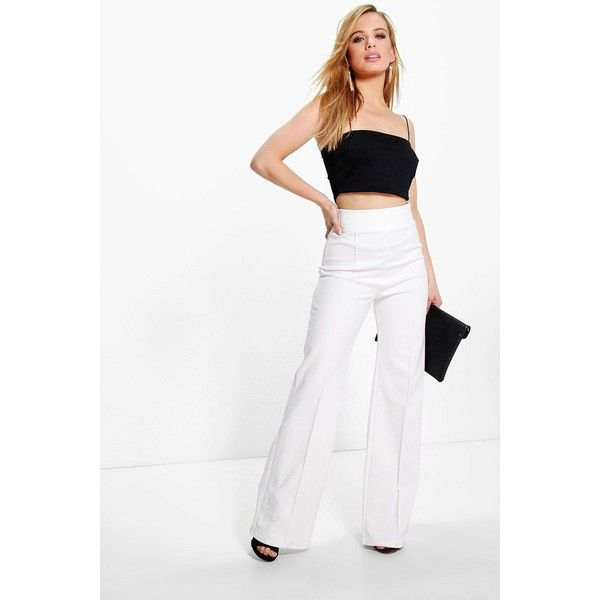Boohoo Petite Darcy High Waisted Wide Leg Trouser (1,665 INR) ❤ liked on Polyvore featuring pants, white pants, wide-leg trousers, high-waisted trousers, high rise pants and petite wide leg pants