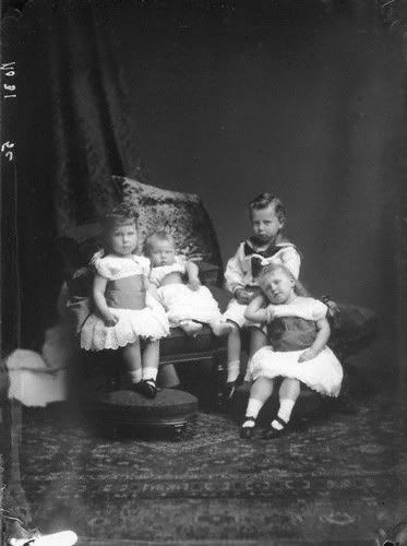 The four eldest children of Prince Alfred and Princess Marie of Edinburgh: (left to right) Princess Victoria Melita, Princess Alexandra, Prince Alfred, and Princess Marie, later Queen of Romania.