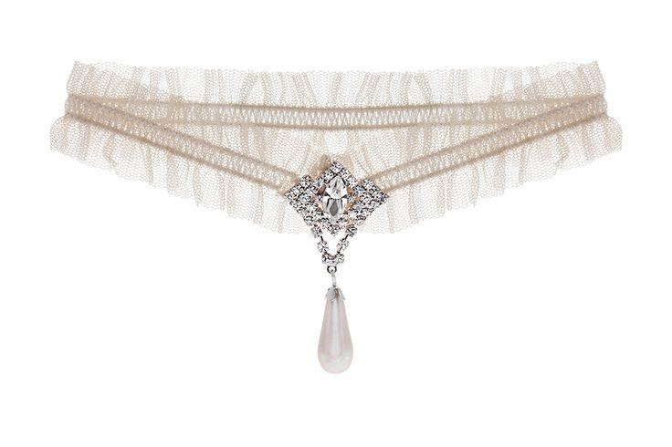 Pearl and crystal vintage wedding garter from Debbie Carlisle