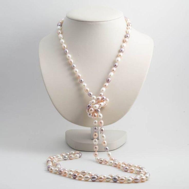 Aurora Patina Geweldige lange parel ketting van 160 cm met witte, perzik roze en mauve zoetwaterparels