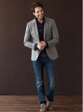 casual wool blazer + dress shirt with jeans