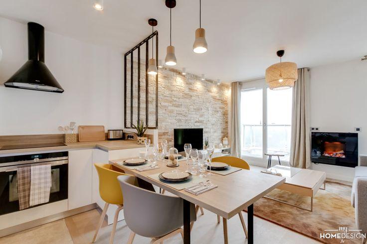 MyHomeDesign a fait de ce 3 pièces en VEFA un appartement chic et chaleureux. Matériaux choisis : cuir, pierre, feutre et coloris doux et intemporels.