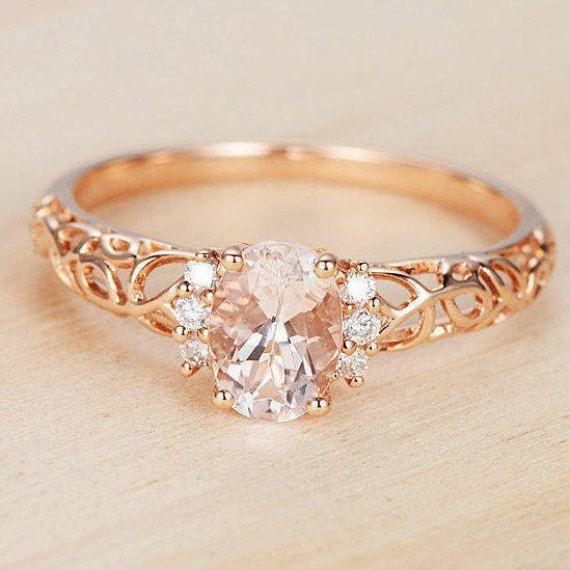 14K Rose Gold Over 1.3 CT Oval Cut Diamond Engagement Wedding Ring For Lady #RegaaliaJewels #EngagementRing #WeddingEngagementAnniversary