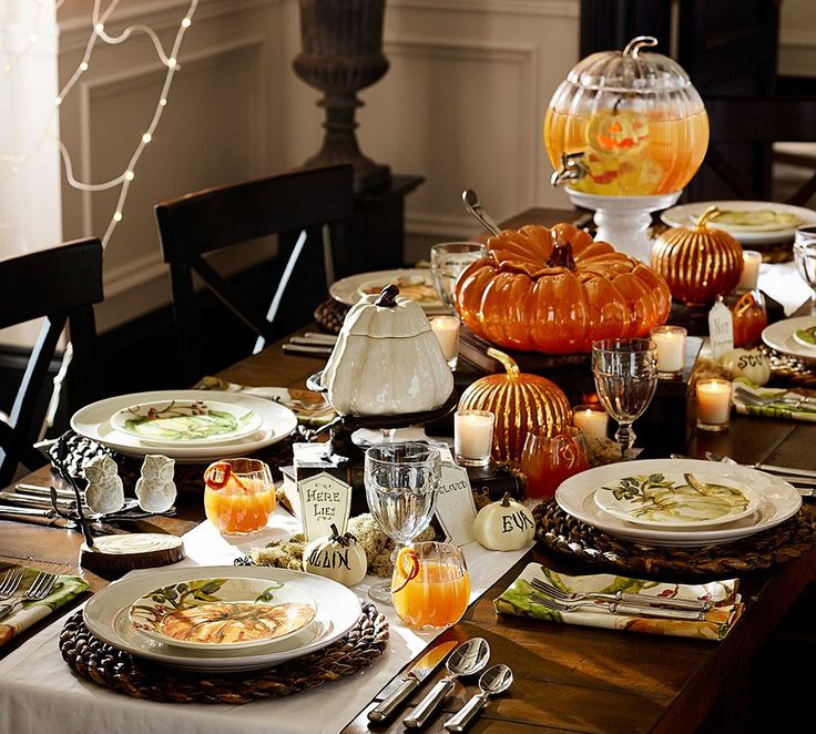mini white pumpkins are perfect for place settings halloween - Halloween Place Settings
