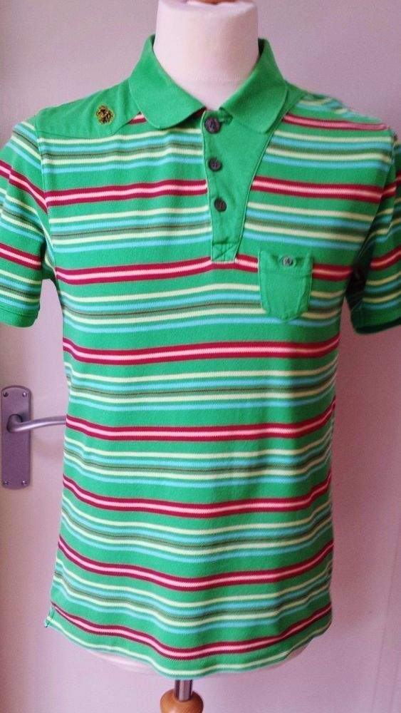 Luke Polo Shirt Size M Mens Green Red Cream Cooool 1 2
