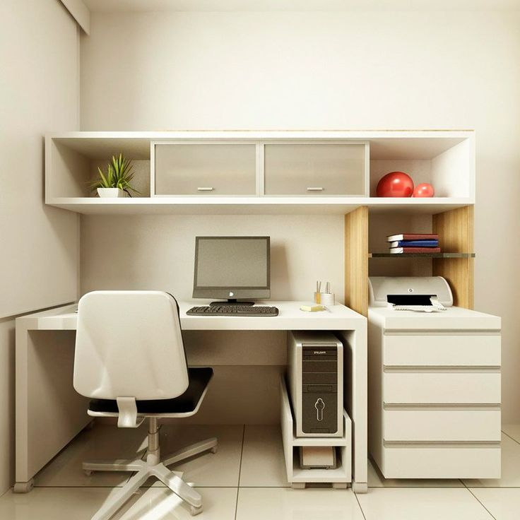 Interior Small Home Office Design Ideas For Space With Computer Table Swivel Chair Cream Ceramic Tile Floor