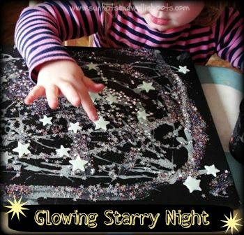 Sun Hats & Wellie Boots: A Glowing Starry Night  Add glow in dark paint to glue, add glitter on top, add glow in dark stars.