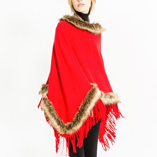 Women Tassel Solid Fur Poncho With Hood Warm Scarves at Banggood women fashion accessories