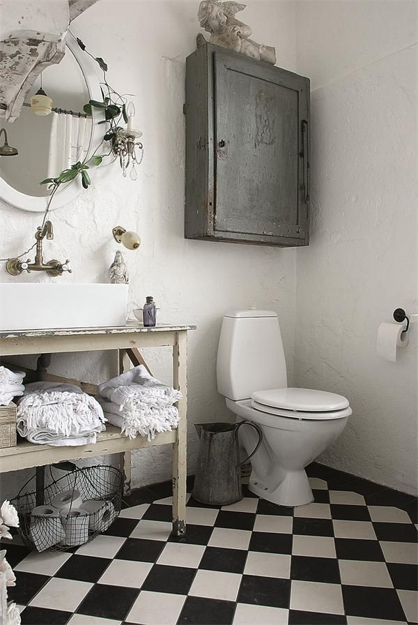 Bathroom. White, Grey, Chippy, Shabby Chic, Whitewashed, Cottage, French Country, Rustic, Swedish decor Idea. ***Pinned by oldattic ***.