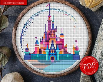 Modern Cross Stitch Pattern of Disneyland for Instant Download - 118| Easy Cross Stitch| Counted Cross Stitch| Disney Cross Stitch