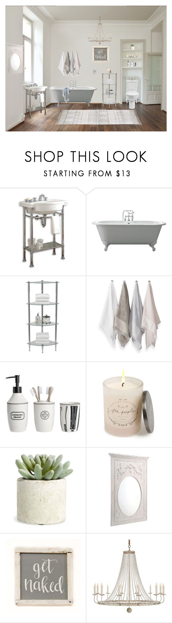 """""""Loft Bathroom"""" by libbylu116-1 ❤ liked on Polyvore featuring interior, interiors, interior design, home, home decor, interior decorating, RetroSpect, Creative Bath Products, Sparrow & Wren and Dot & Bo"""