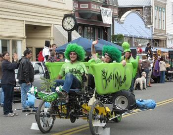 May 25-27: 45th Annual Kinetic Sculpture Race & 43rd Anniversary of the Kinetic Grand Championship. Wild & crazy people-powered sculptures traverse land, sand, & water to travel from the Arcata Plaza (10 a.m. viewing, noon start Saturday) to the finish line in the Victorian Village of Ferndale,CA. It's all for the glory! Final awards ceremony at Ferndale's Fireman's Hall is open to the public, beginning around 5:30 p.m.
