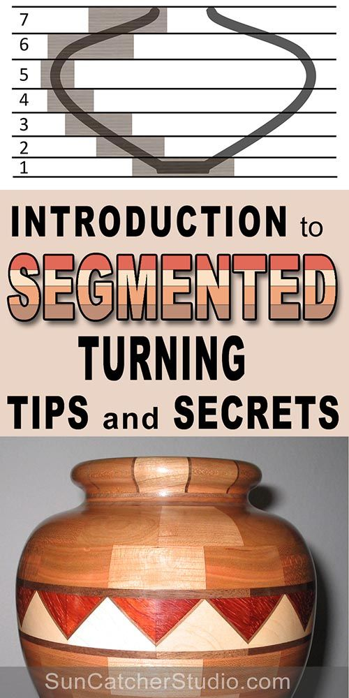 Segmented turning - glue, wood, introduction, bowls, vessels, tips, design, secrets, segments, staves, feature, rings, miter, tilt, angle, length, circumference, diameter, clamps, cuts, base, bowls, vessels, laminate, blanks, calculator, jig.