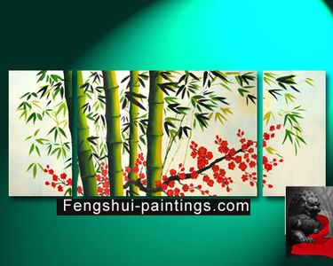Feng Shui Bamboo Painting Canvas Artwork Bamboo Painting - downstairs bath