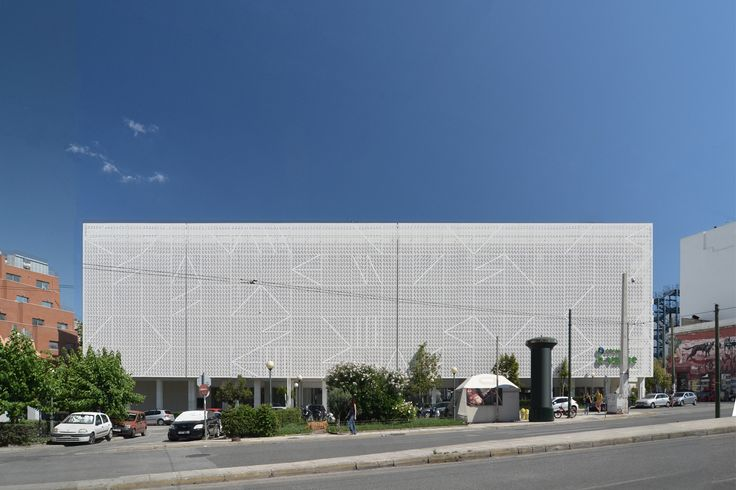 Redesign of building envelope in an abandoned building in Athens, Greece. The perforated facade is made out of cnc cut aluminium honeycomb panels.