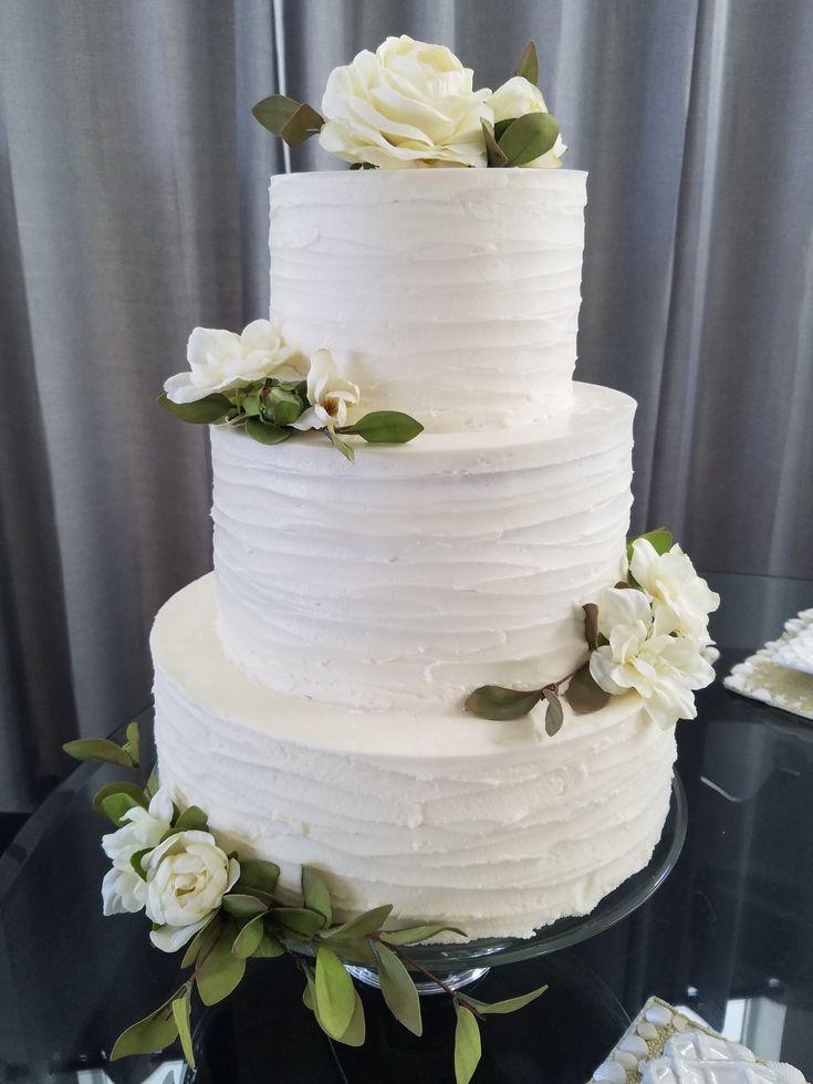 Rustic Iced Wedding Cake White Flowers Greenery Simply Elegant
