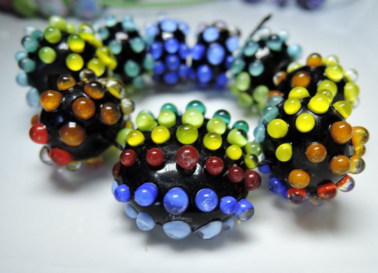 Rainbow dotted lampwork glass beads...unique set of mutlicoloured raised 3D dots on black base bead...DIY beads set of 9 beads by BdazzledJewellery on Etsy