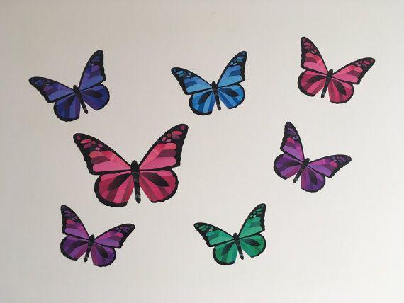 Butterflies wall sticker set Butterflies decal by ChameleonWallArt