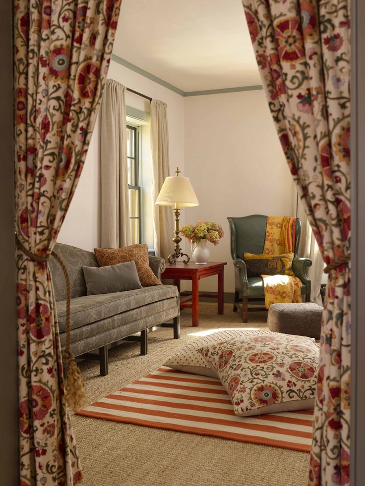 New Farmhouse Construction Shaker Style Family Room With Curtain Doorway