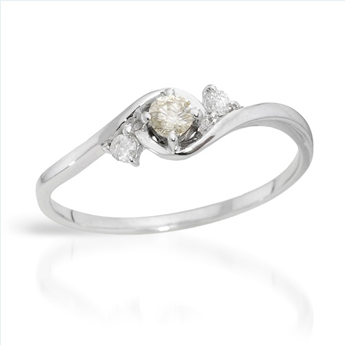 $159.00  Dazzling Brand New Ring With Precious Stones - Genuine  Clean Diamonds  14K White Gold- Size 7 - Certificate Available.