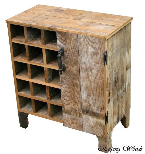 Reclaimed Rustic Barn Wood Wine Storage Cabinet rack With Glass Holder With Cupboard,Shelf TV Stand And Much More. on Etsy, 165,64€