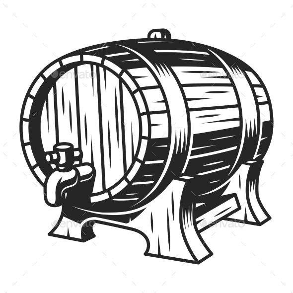 Vintage Beer Wooden Barrel Template Vintage Beer Wine Bottle Drawing Silhouette Art