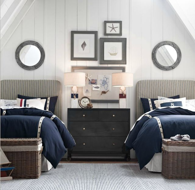 Nautical lamps in a New England style interior [via CASA TRÈS CHIC]