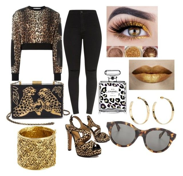 """""""Cheetah Outfit"""" by desireparis on Polyvore featuring Givenchy, Pour La Victoire, Chanel, Valentino, RetroSuperFuture and Jennifer Fisher"""