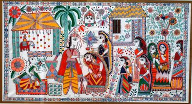 Madhubani painting 2009. traditional Indian Wedding. Acrylic over fabric.