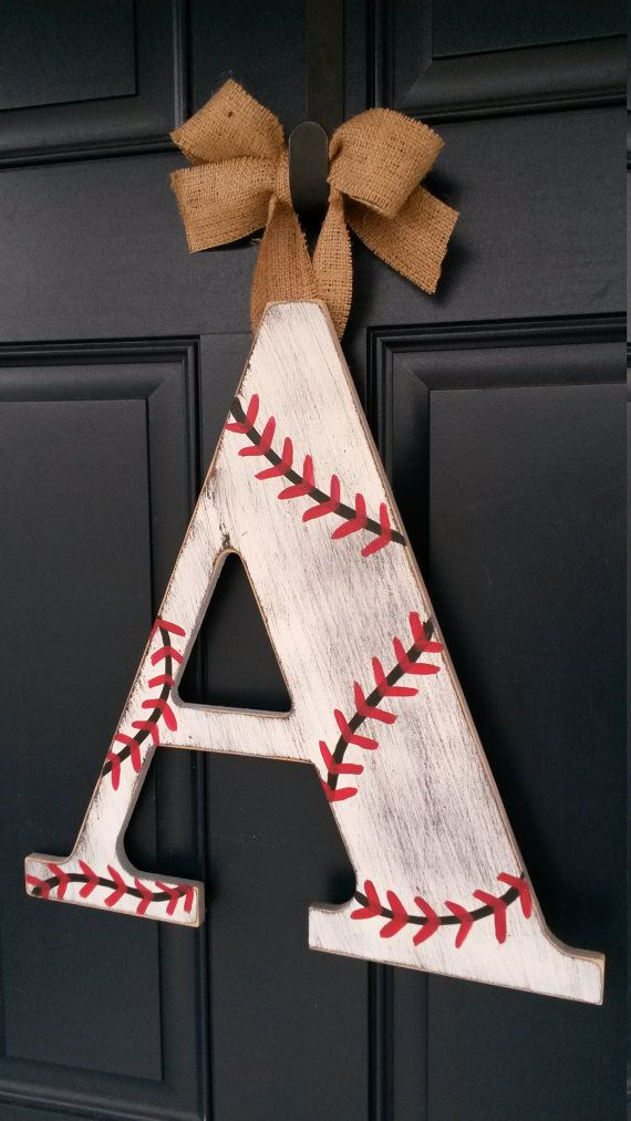 18 inch Chevron letters Baseball door by BlessHerHeartDesigns